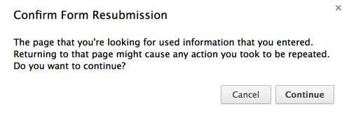 Chrome's confirm resubmission dialog